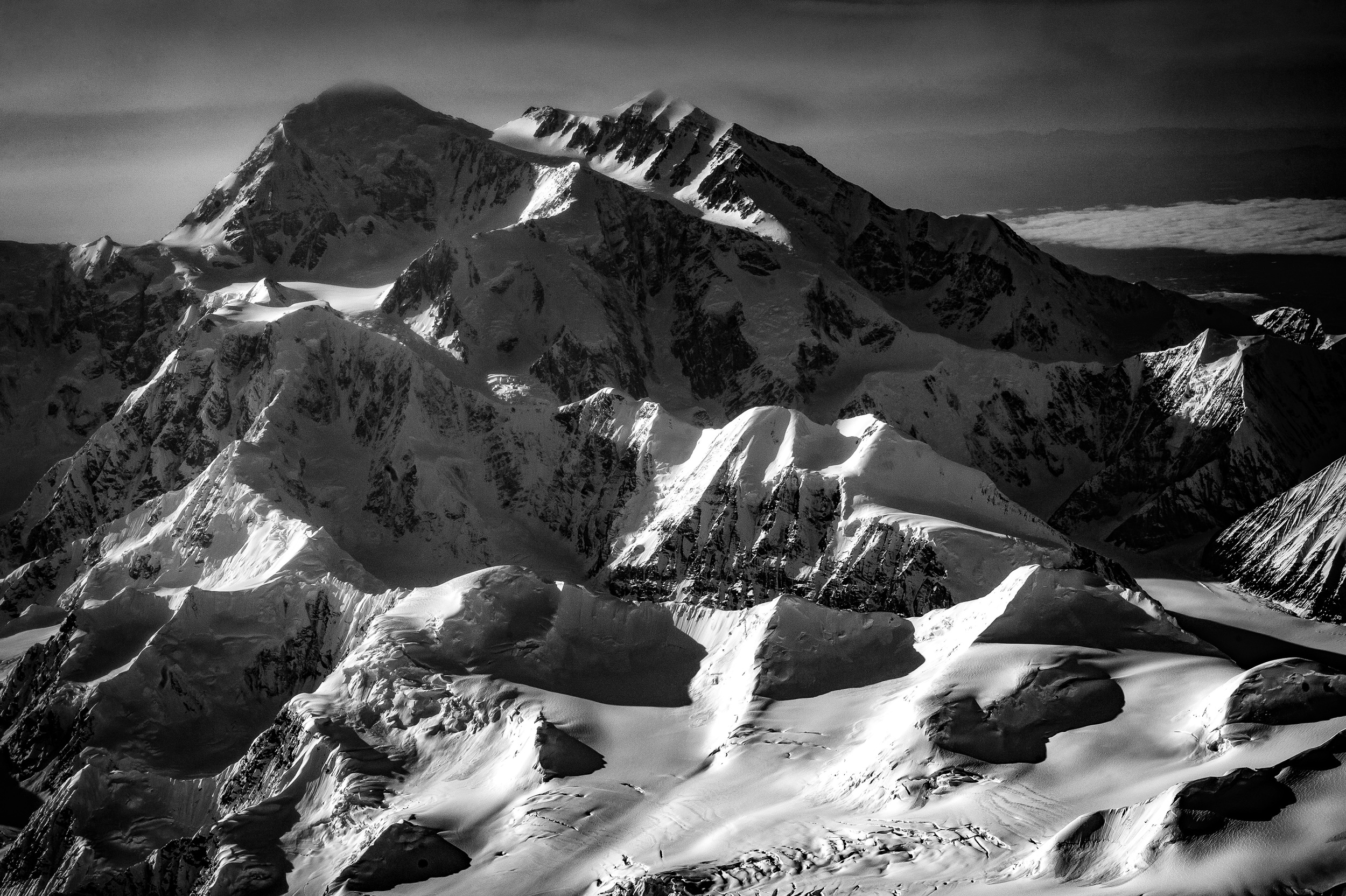 The final image of Mt. Denali edited in Adobe Lightroom CC and converted to black and white.