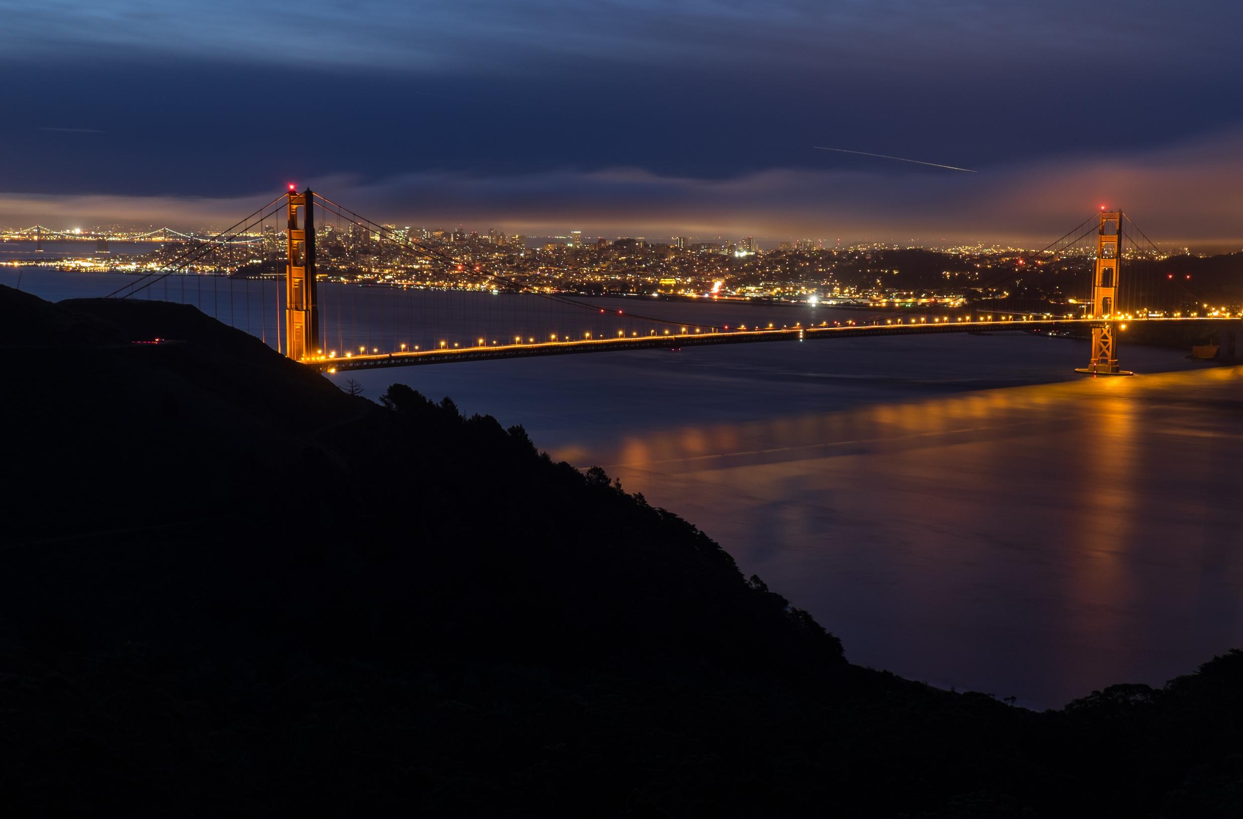The Golden Gate Bridge a half hour prior to sunrise. 30 sec.@ f8, ISO 200.