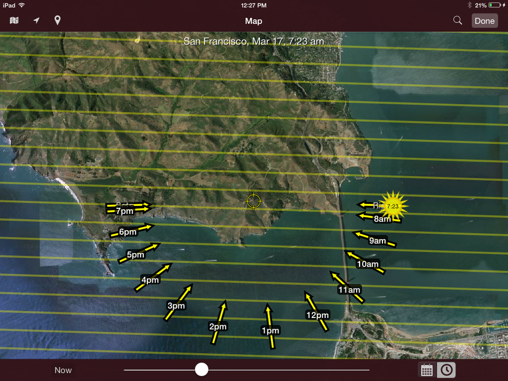 Screen shot from my iPad of the SunSeeker App showing my location and sun direction on the morning of March 17, 2015, as I was attempting to photograph the sunrise. One of the nice things about this App is that you can pick a day and time in the future so that there are no surprises, except for maybe rain and fog.