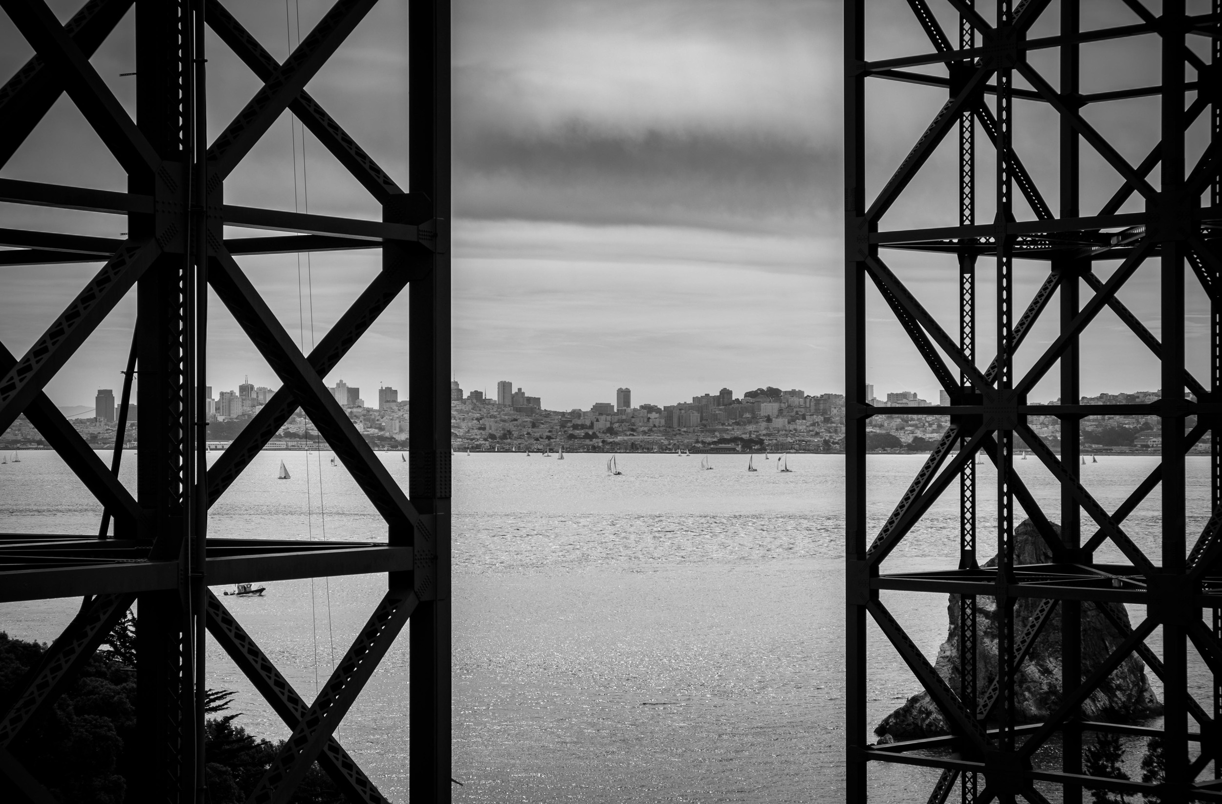 Think about details and capturing pieces of the bridge, even from underneath. This was taken while walking from the Coast Guard station up the hill to the Vista Point parking area. 1/350 @ f9, ISO 200.