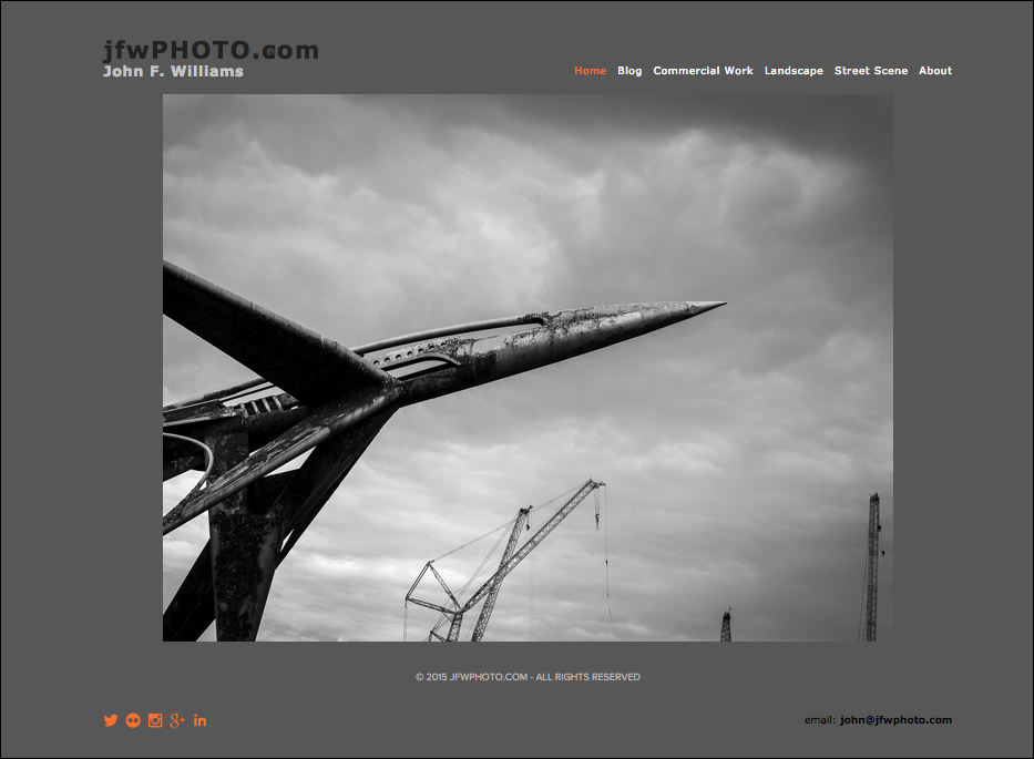 The homepage of jfwphoto.com using the Squarespace Ishimoto template.