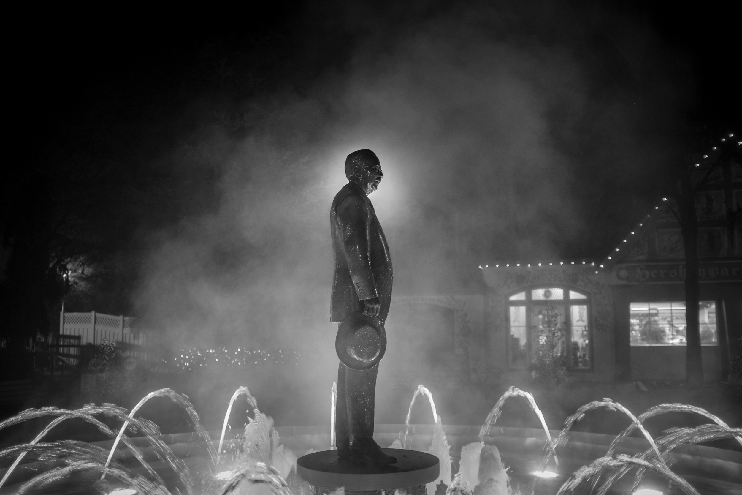 The statue of Milton Hershey seems to be rising from the steam caused by unseasonable warm weather. Fujifilm X100S,1/ 30 @f2.0, ISO 320.