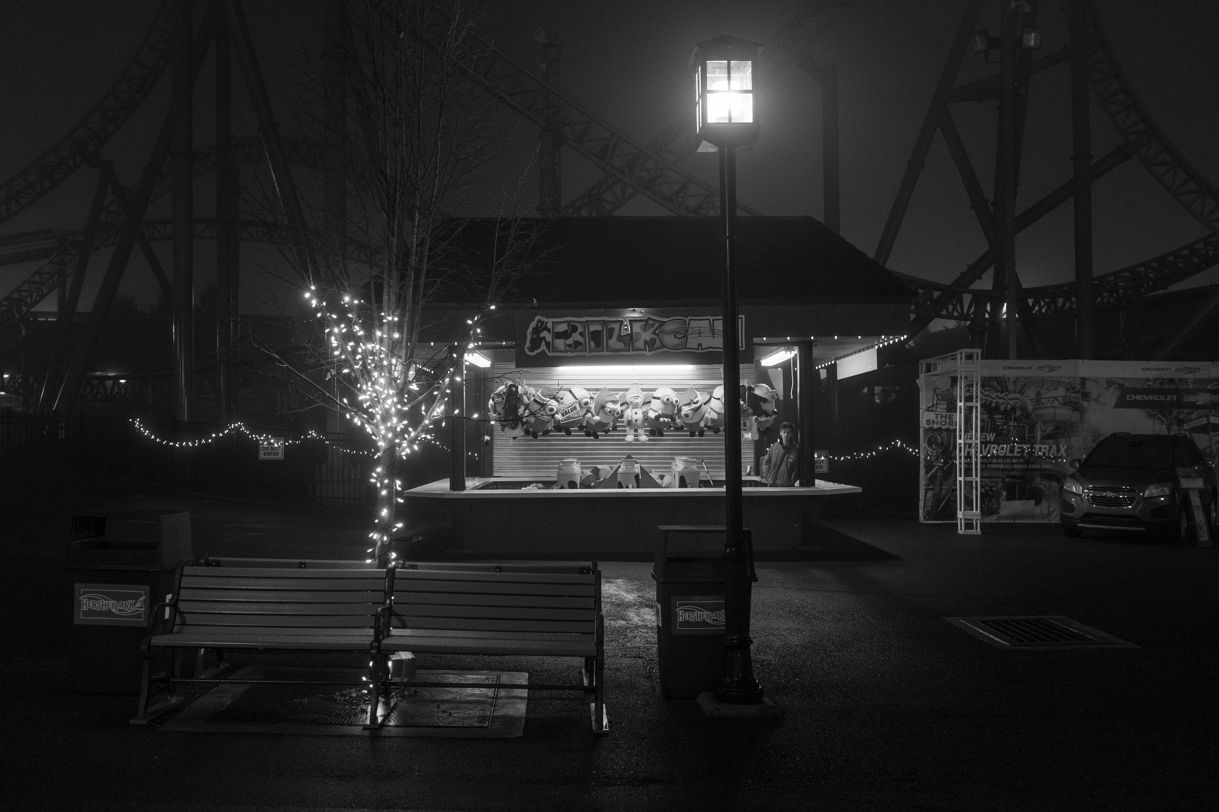 The park wasn't completely empty, but the weather did keep many people away which gave the park an ominous feel. Fujifilm X100S, 1/60 @f2.8, ISO 1600.