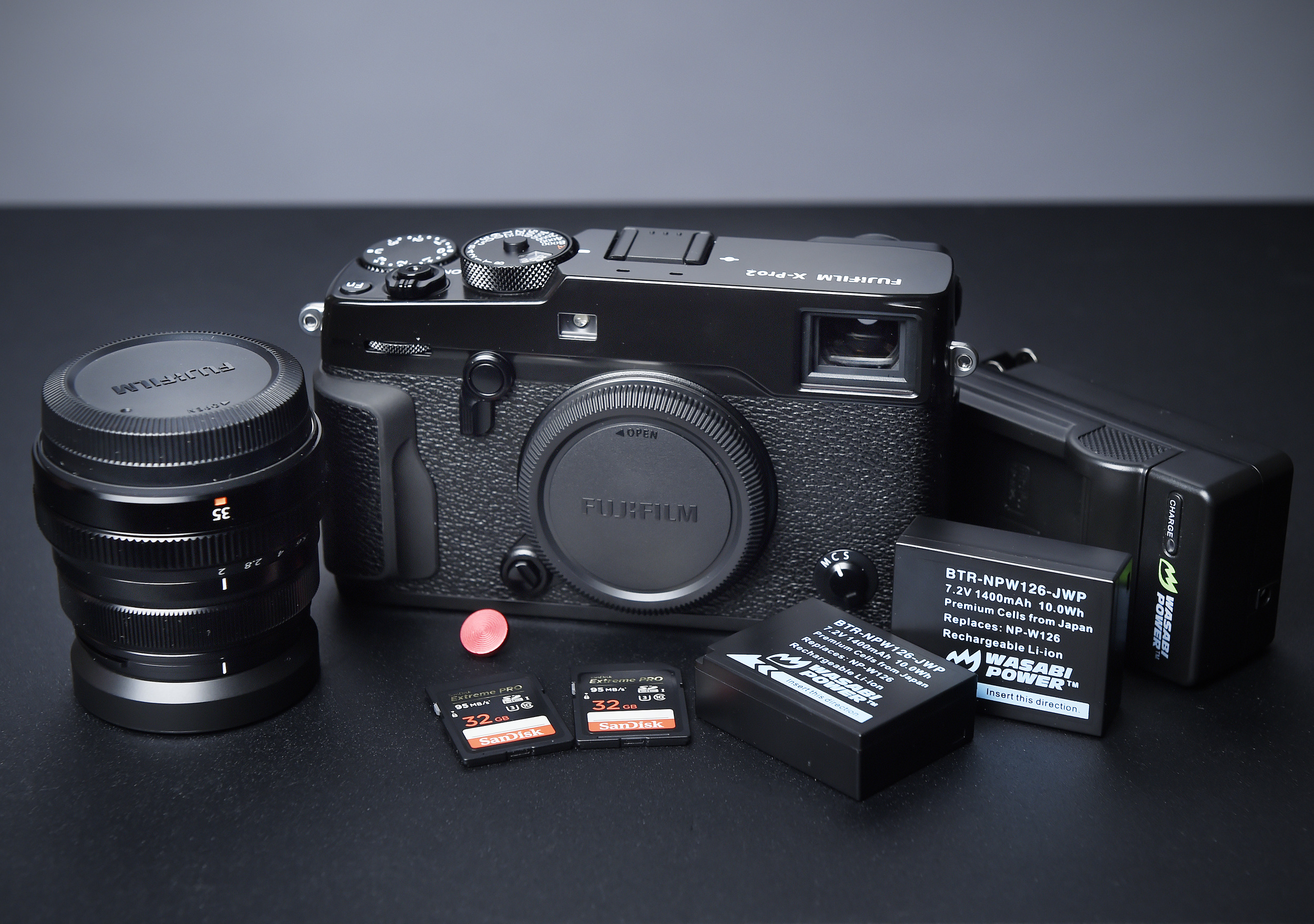Fuji Xpro2 with XF 35 f2.0 lens, two SD cards, extra batteries and a soft shutter release button. Details and links appear at the end of this post*.
