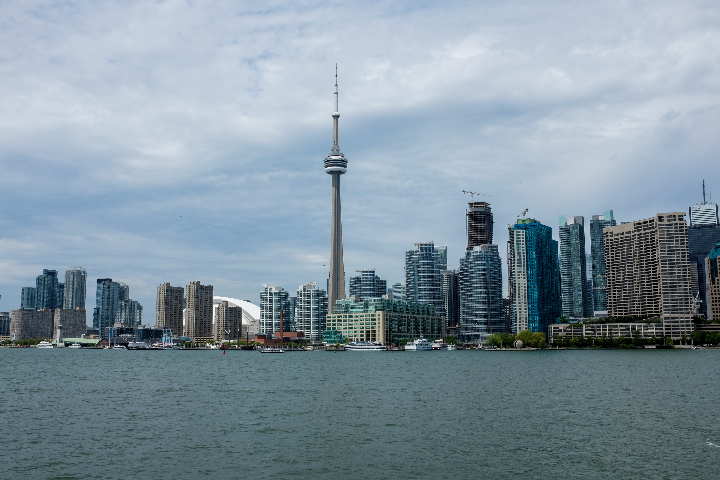 Toronto, Ontario, skyline shot at 1/220, f16 at ISO 200.