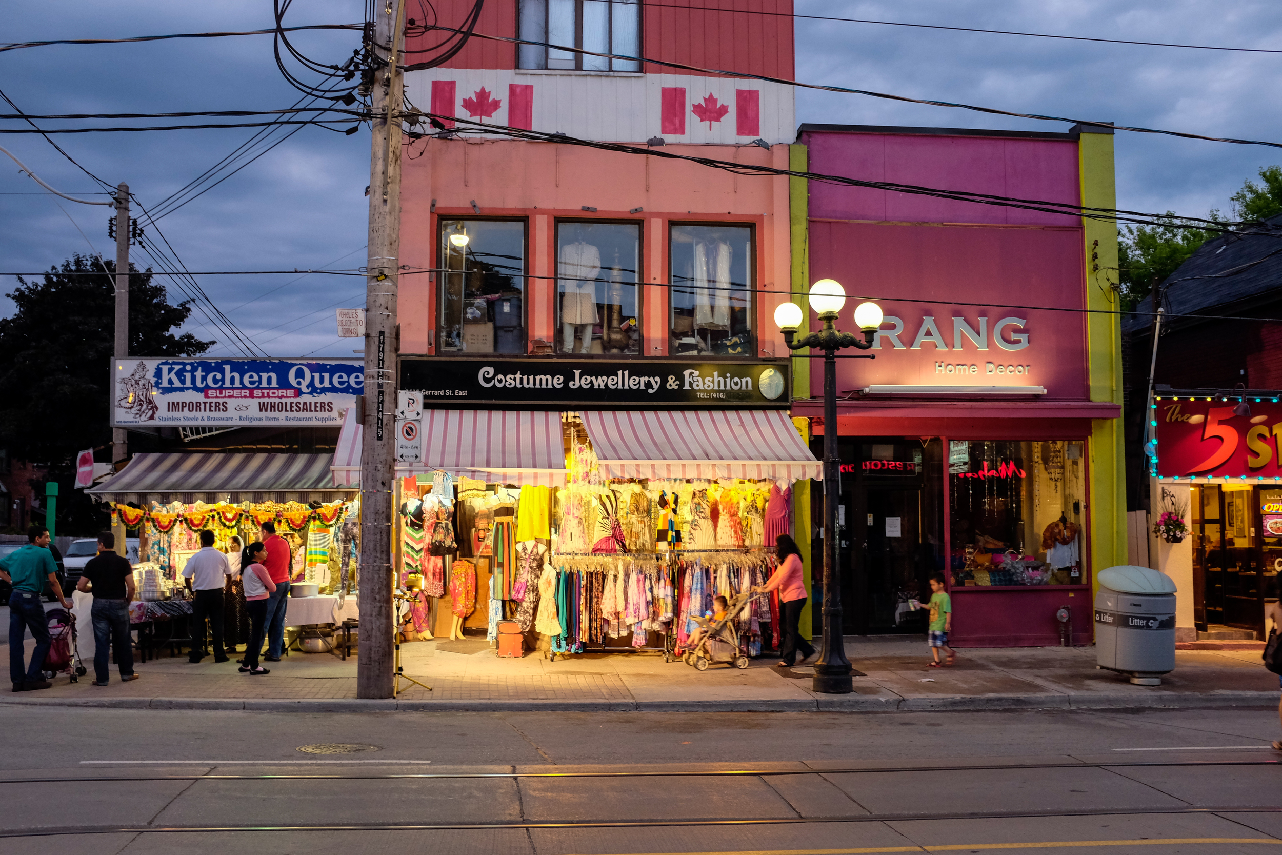 Gerrard Street East in Toronto, Ontario, shot at 1/40, f4 at ISO 1600.