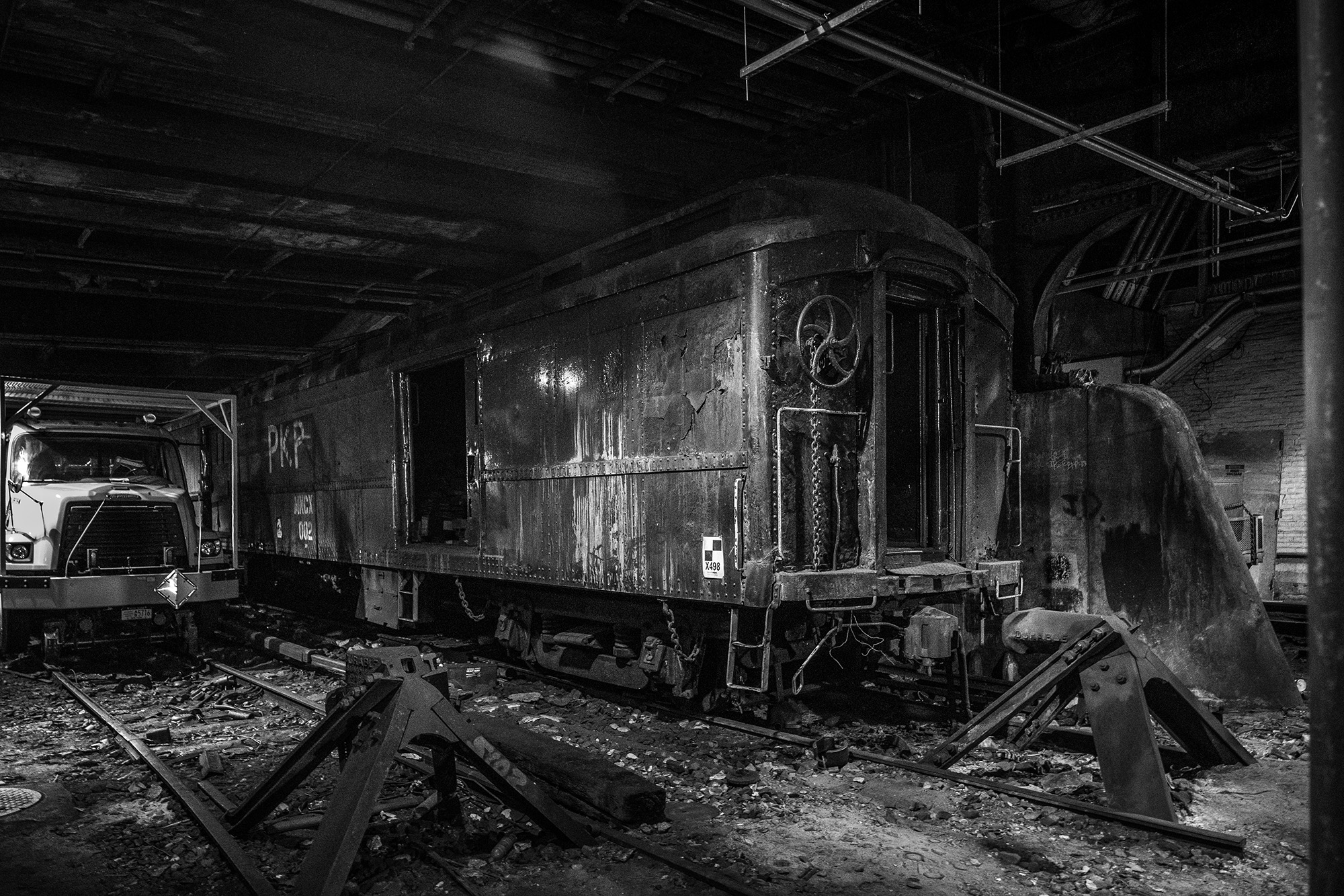This abandoned railcar located on track 61 was used by FDR during his presidency to transport him, already seated in his Pierce Arrow limousine,to a private station located under the Waldorf Astoria hotel.  Fujifilm X-Pro2 with a Fujinon 16-55mm lens. 1/15 @ f2.8, ISO 6400.