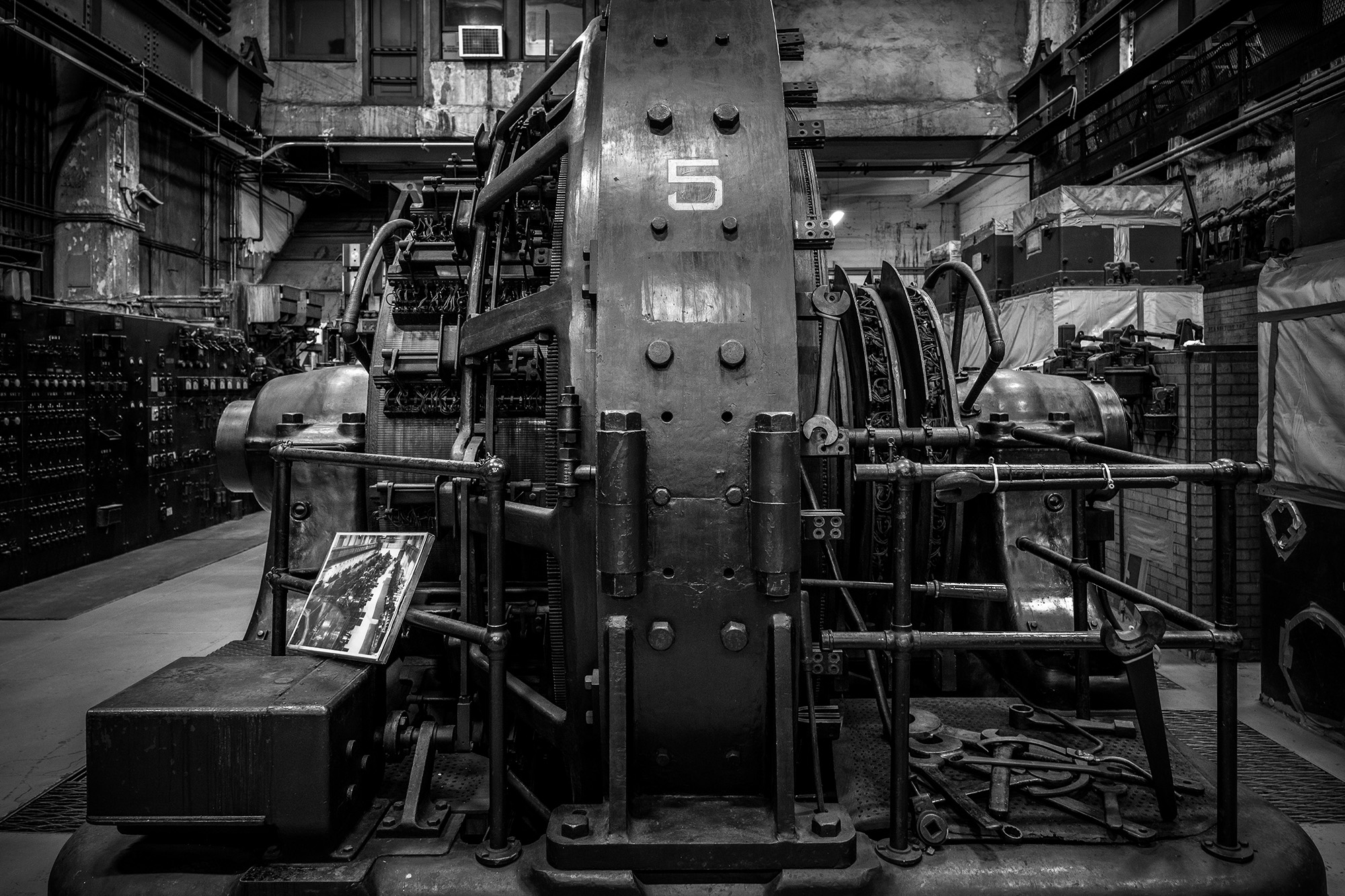 The secret sub-basement known as M42 is 13 stories below Manhatten, doesn't exist on any plans and still houses massive electrical converters dating from WWII. Like the railcar photo above, monochrome just made sense. Fujifilm X-Pro2 with a Fujinon 16-55mm lens. 1/15 @ f2.8, ISO 1250.