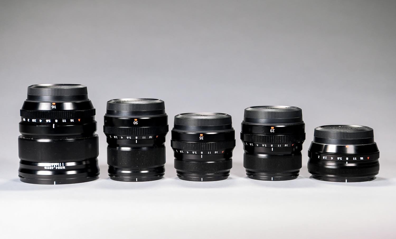 From left:The Fujinon 16mm, f1.4; 50mm, f2.0; 35mm, f2.0; 23mm, f2.0; and 18mm, f2.0.