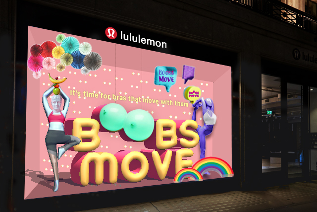 Tier 2 window display, showing mannequins in different positions around 3D Boobs Move sign and colorful props that resembles boobs.