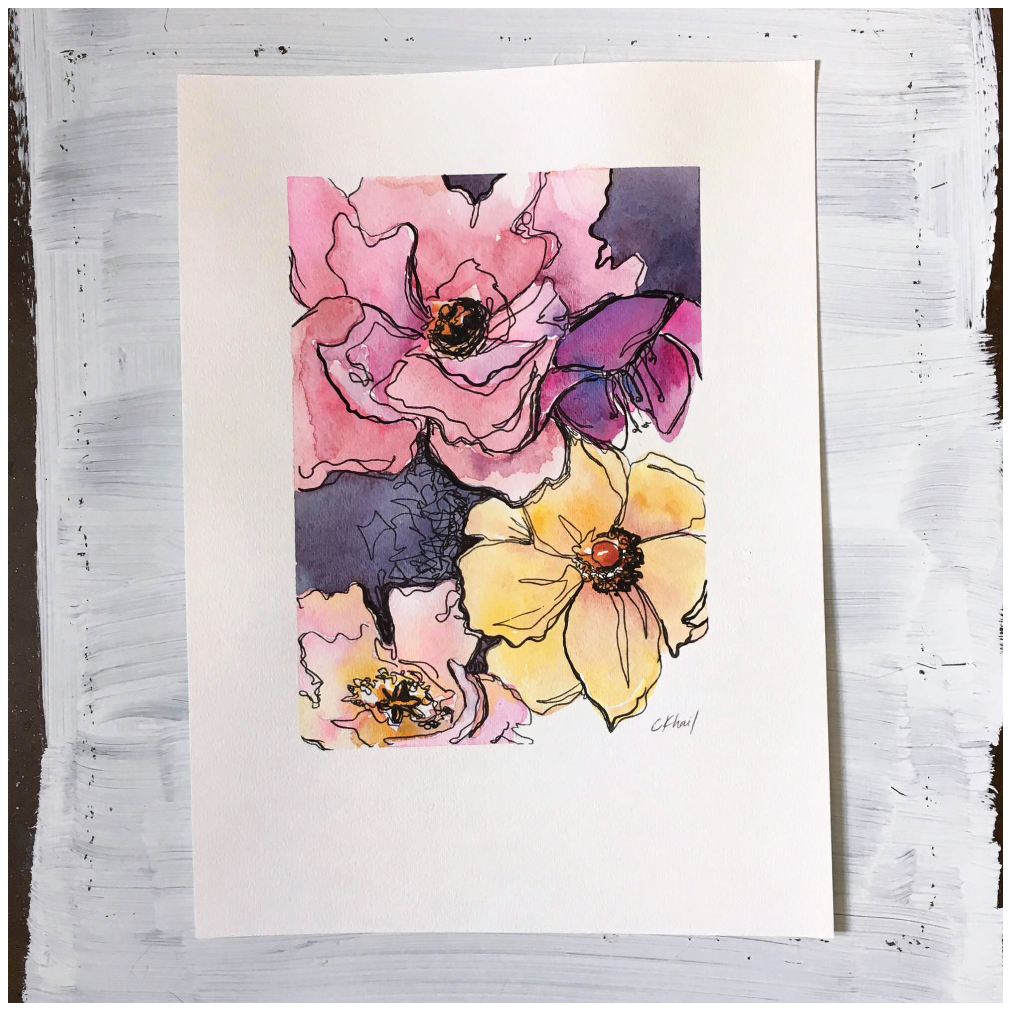 velvet petals | watercolor and ink painting | atlanta contemporary artist courtney khail