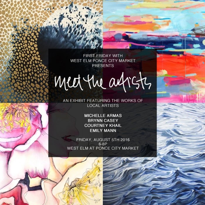 meet the artists exhibit | First Friday's with west elm ponce city market | atlanta contemporary watercolor artist courtney khail