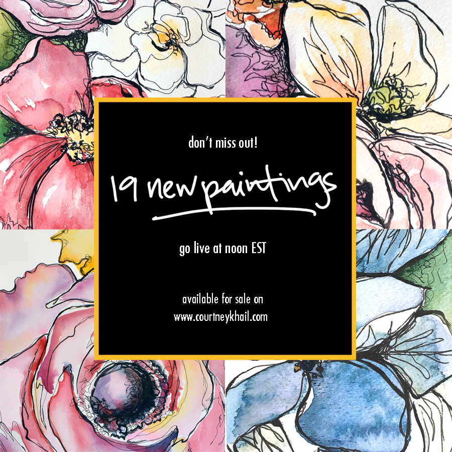 original watercolor and ink paintings by atlanta artist courtney khail launch August 10th at noon est!