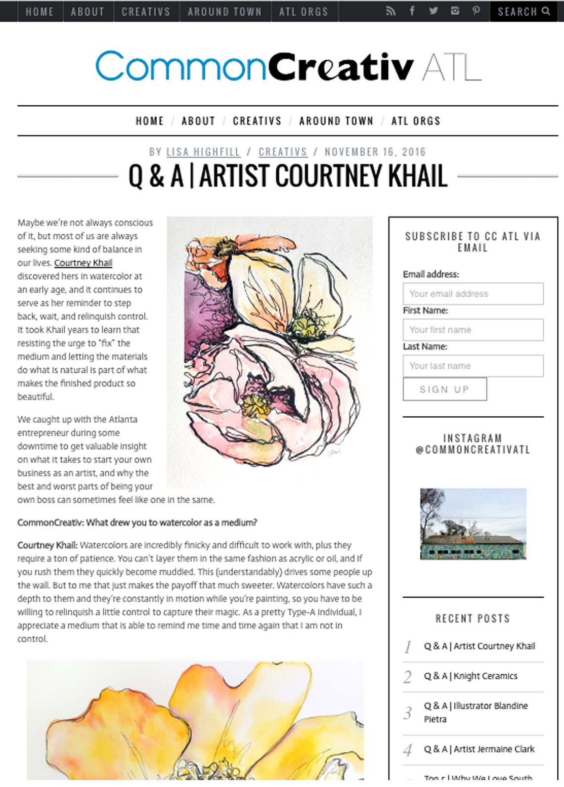 Common Creativ ATL | atlanta artist Courtney Khail interview