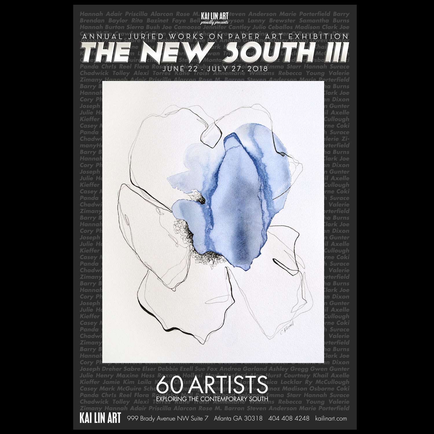 The New South III - The New South III June 22 - July 27, 2018Kai Lin Art's third annual juried exhibition of works on paper, The New South III. The show explores the contemporary South through the perspectives of 60 artists living and working throughout the Southeast. From over 1,000 submitted artworks, 75 pieces were selected for the exhibition, including Courtney Khail's painting Dreams In Color: Indigo.Overseeing the selection process this year are our jurors Justin Rabideau, Director of The Bernard A. Zuckerman Museum at Kennesaw State University and Larry Jens Anderson, Professor of Art at The Atlanta College of Art & SCAD-Atlanta.