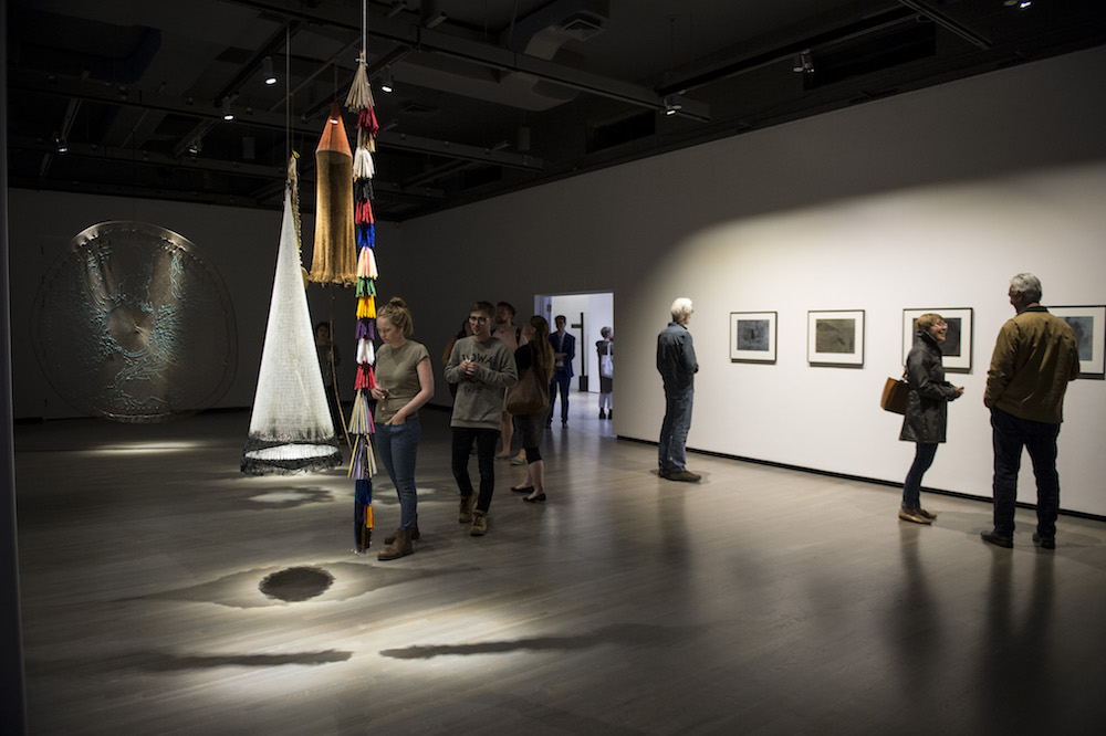 Installation view of  If the river ran upwards  (2018). Walter Phillips Gallery, Banff Centre for Arts and Creativity. Photo by Jessica Wittman. Featuring the work of Carolina Caycedo.