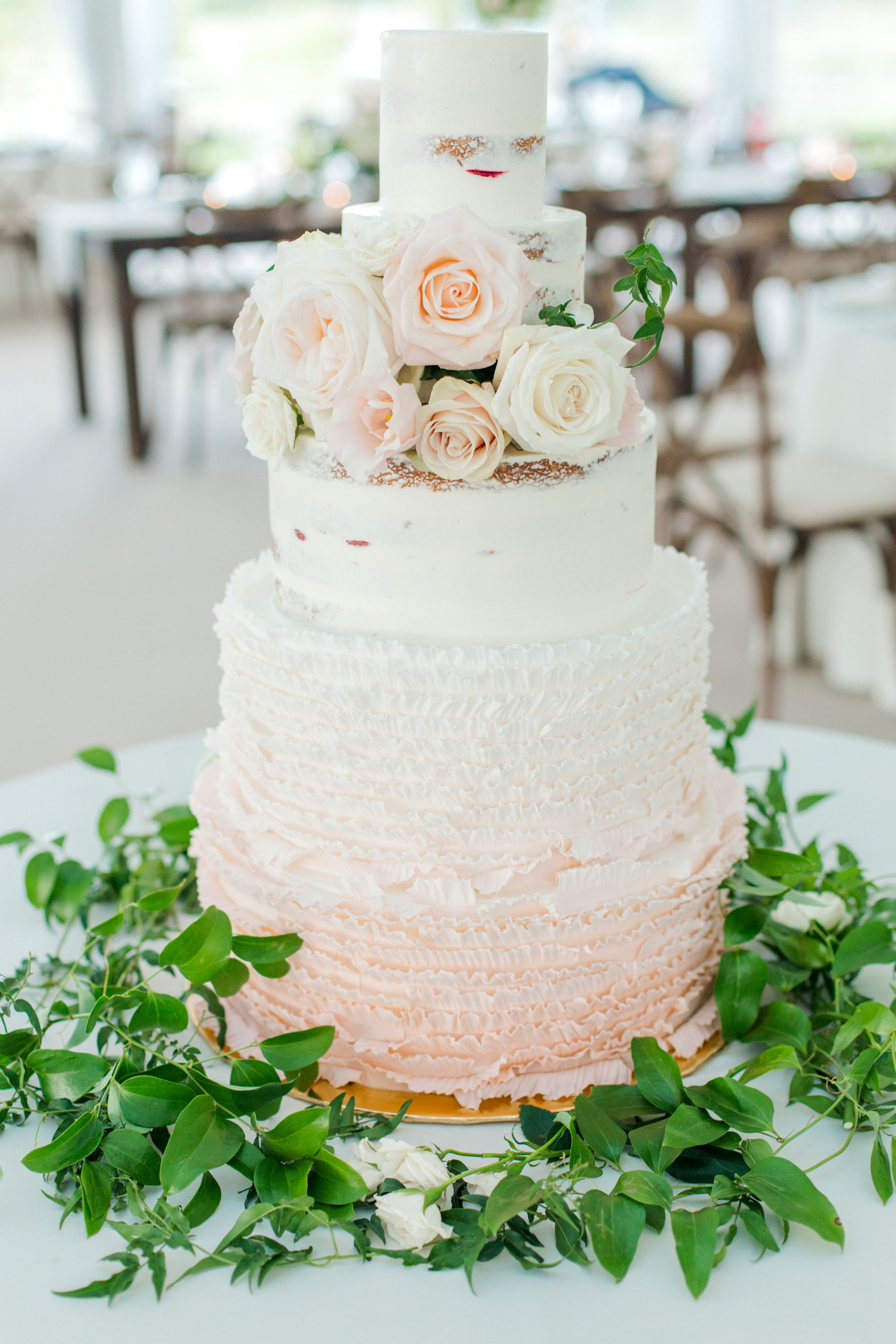 Naked cake with Ruffles and Roses