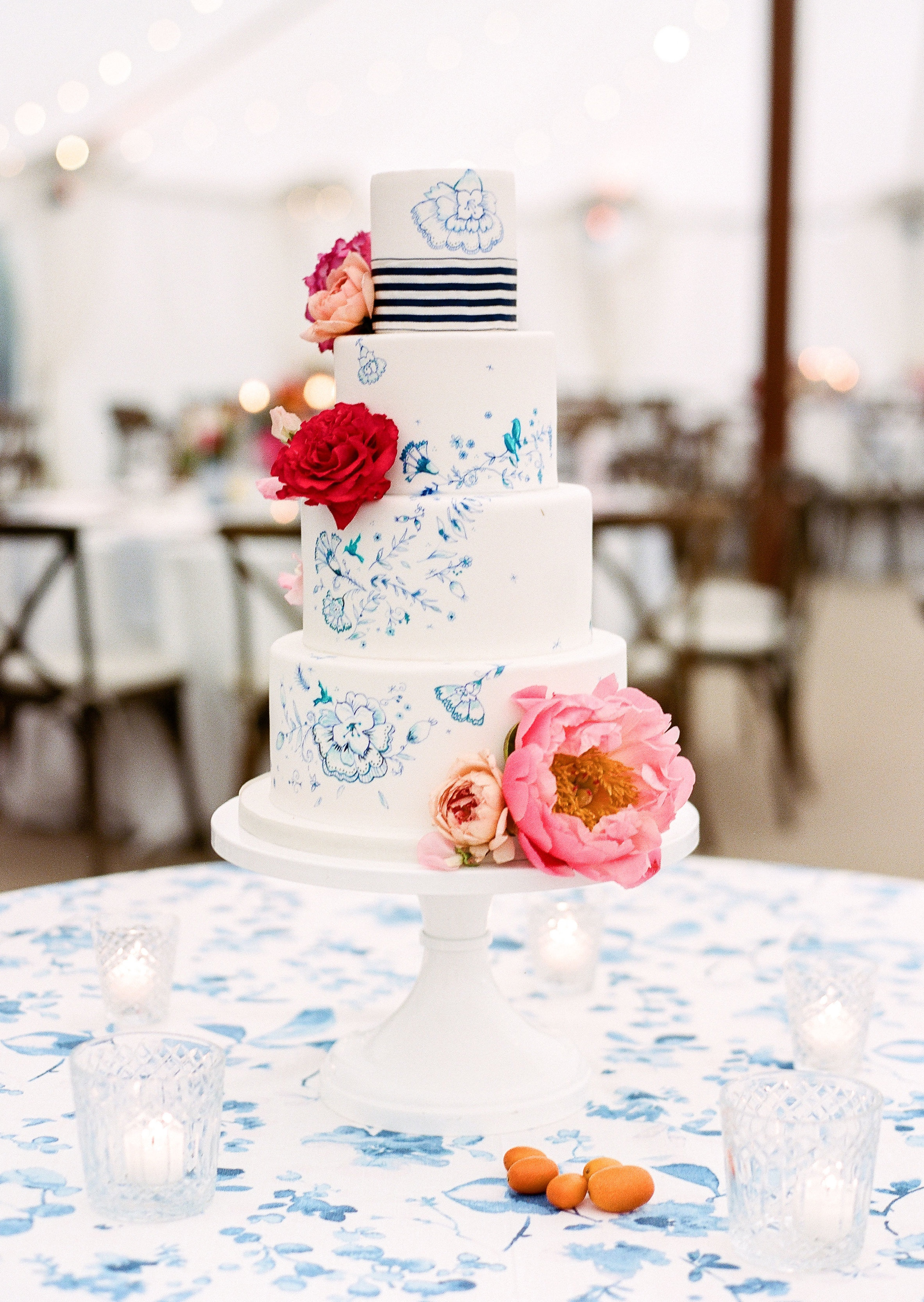 Hand Painted cake with Peonies
