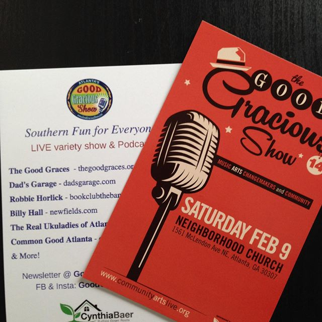 So looking forward to show on Sat. Feb 9. Come see @dadsgarageatl @kimware Robbie Horlick of @bookclubtheband Billy Hall, Common Good Atl and more! Www.goodgraciousshow.com