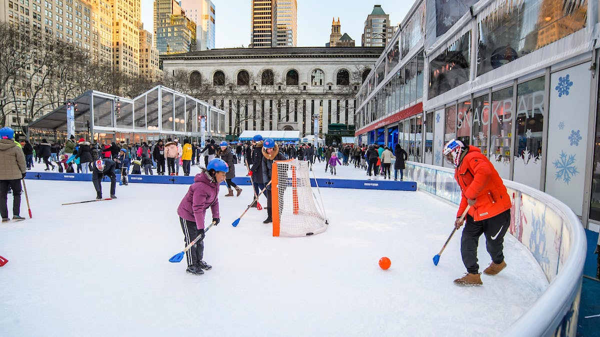 The centerpiece of Bryant Park's Winter Village, the skating rink offers recreational skating sessions, skating lessons, and broomball games. (Winter Village)