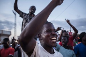 Citizens of Burkina Faso protest against the recent coup in Ouagadougou. (© AP Images)