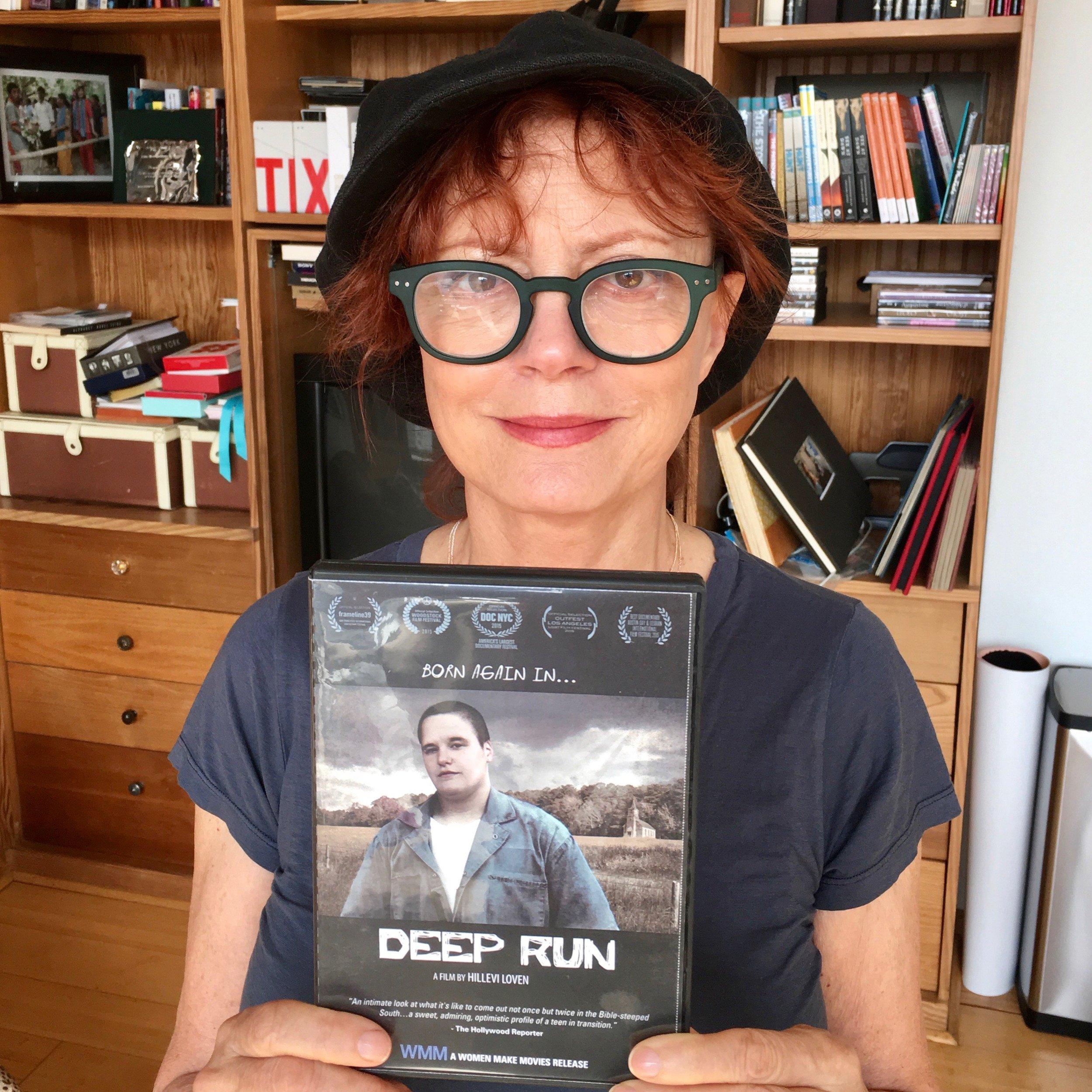 Susan Sarandon with a copy of  Deep Run