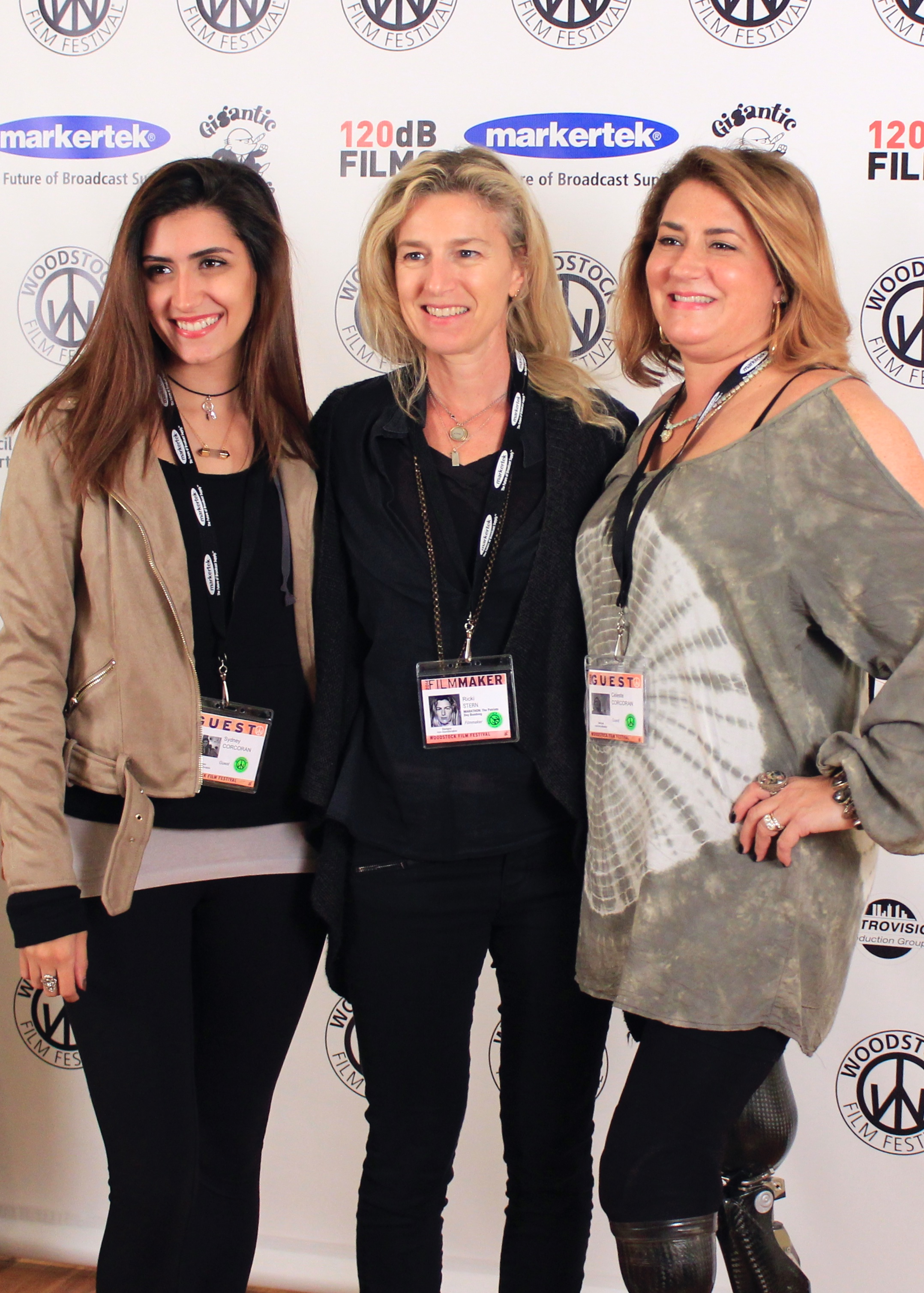 Marathon survivors Celeste and Sydney Corcoran with Director  Ricki Stern  ( Marathon: The Patriots Day Bombing ) at the 17th annual Woodstock Film Festival. Photo by Naomi Schmidt