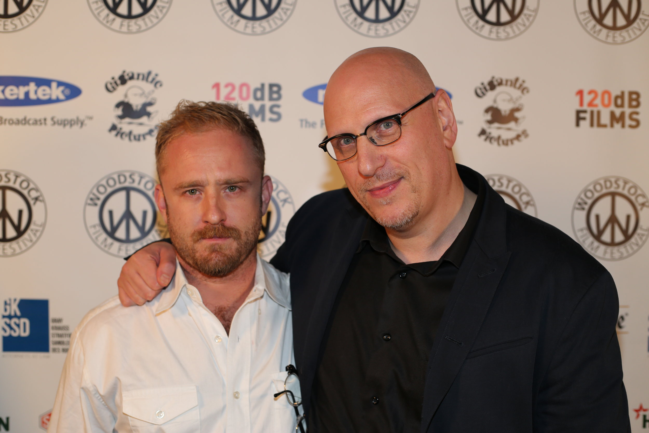 2016 Fiercely Independent Award Winner  Oren Moverman  (right) with actor  Ben Foster  at the 2016 Woodstock Film Festival. Photos by Laura Revercomb