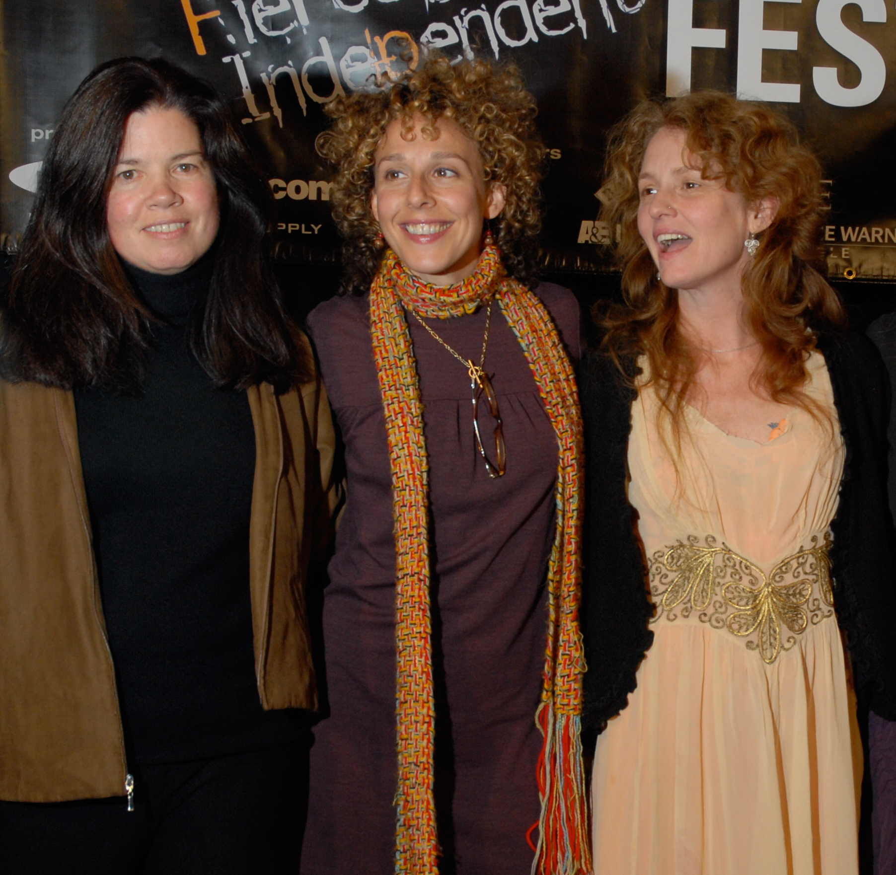 Pamela Yates  (L) with  Rachel Grady  (C)and Academy Award Winner  Melissa Leo  (R) at the 2006 Woodstock Film Festival