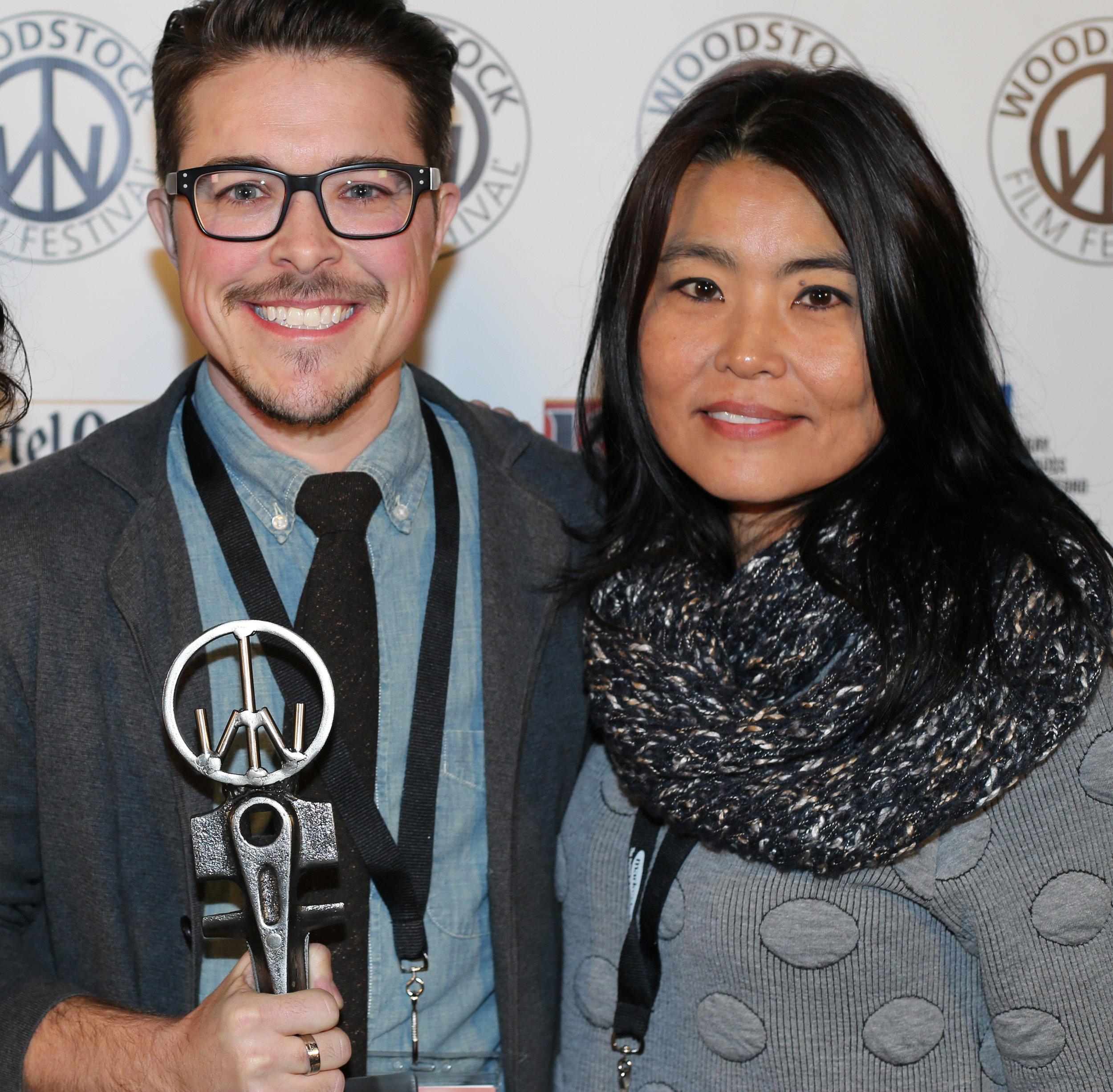 Mako Kamitsuna  (R) with Documentary Editing Award Winner  Kyle Ranson-Walsh  at the 2016 Woodstock Film Festival