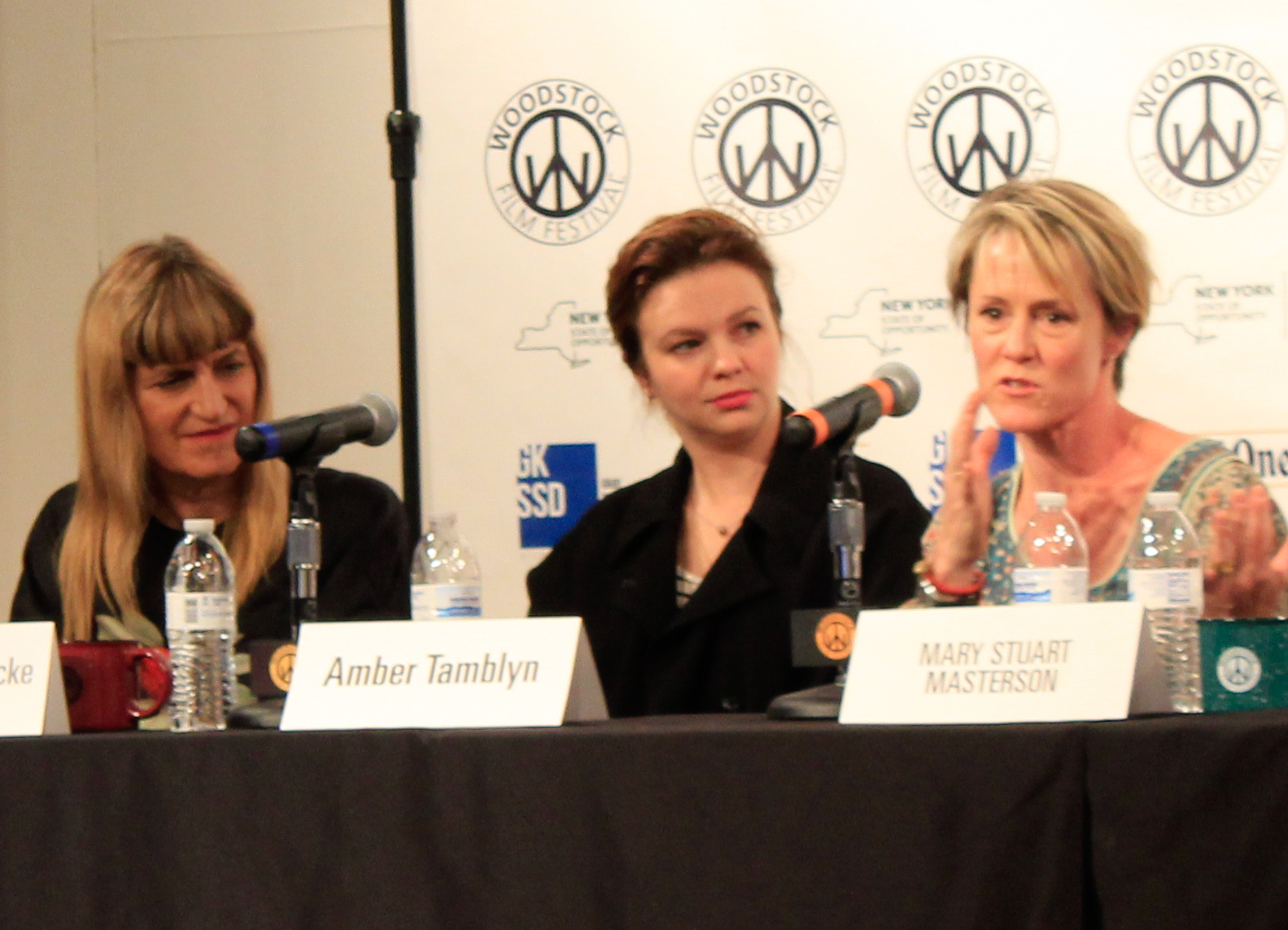 Amber Tamblyn  (C) on the 2016 Woodstock Film Festival Women in Film Panel, flanked by director  Catherine Hardwicke  (L) and actress  Mary Stuart Masterson  (R)
