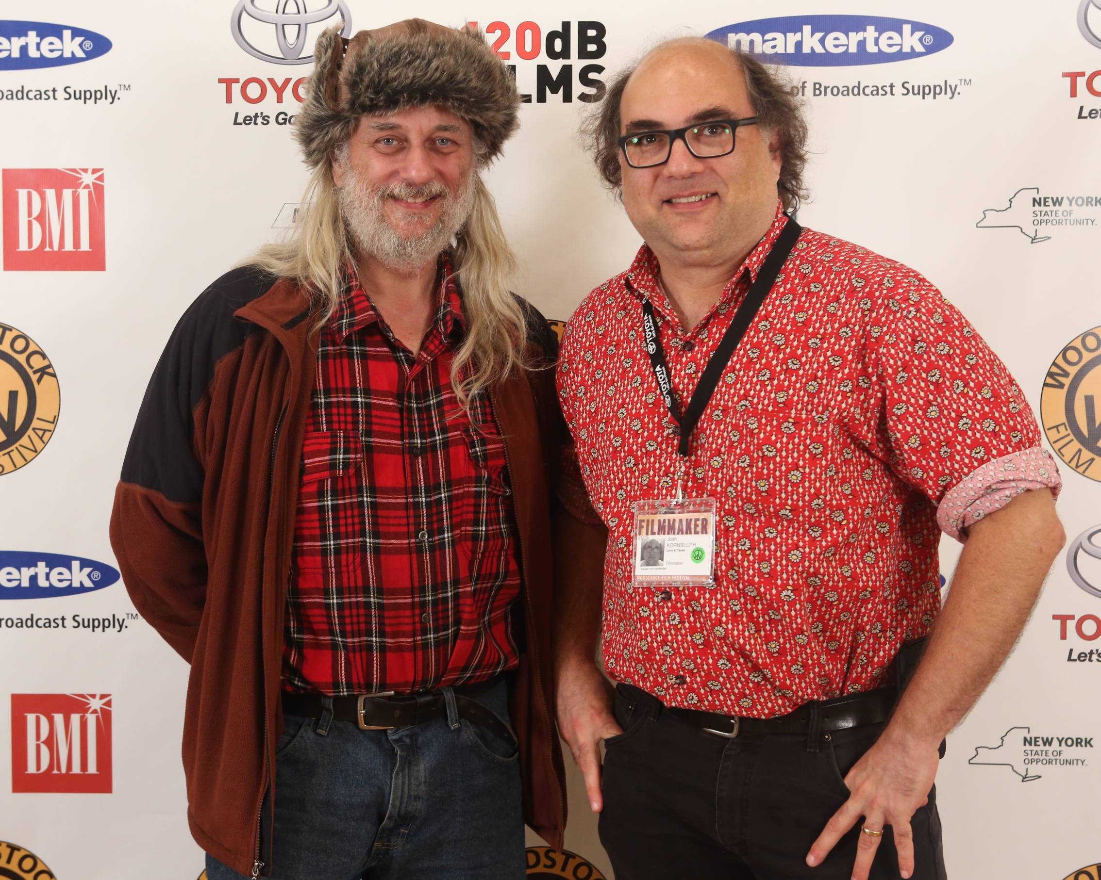 Woodstock Film Festival co-founder/director  Laurent Rejto  with  Josh Kornbluth  from  LOVE & TAXES  at filmmaker lounge for 2015 Woodstock Film Festival. (Photo by Anjali Bermain)