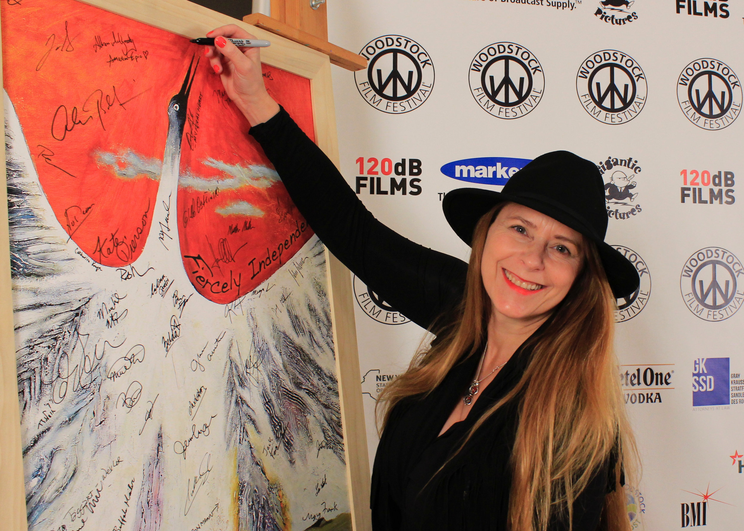 Allison McGourty  signing in at 2016 Woodstock Film Festival.