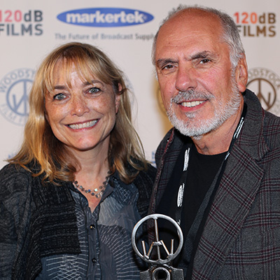 Actress Karen Allen (INDIANA JONES) and Michael Cristofer accepting the Carpe Diem Andretta award at the 2016 Woodstock Film Festival