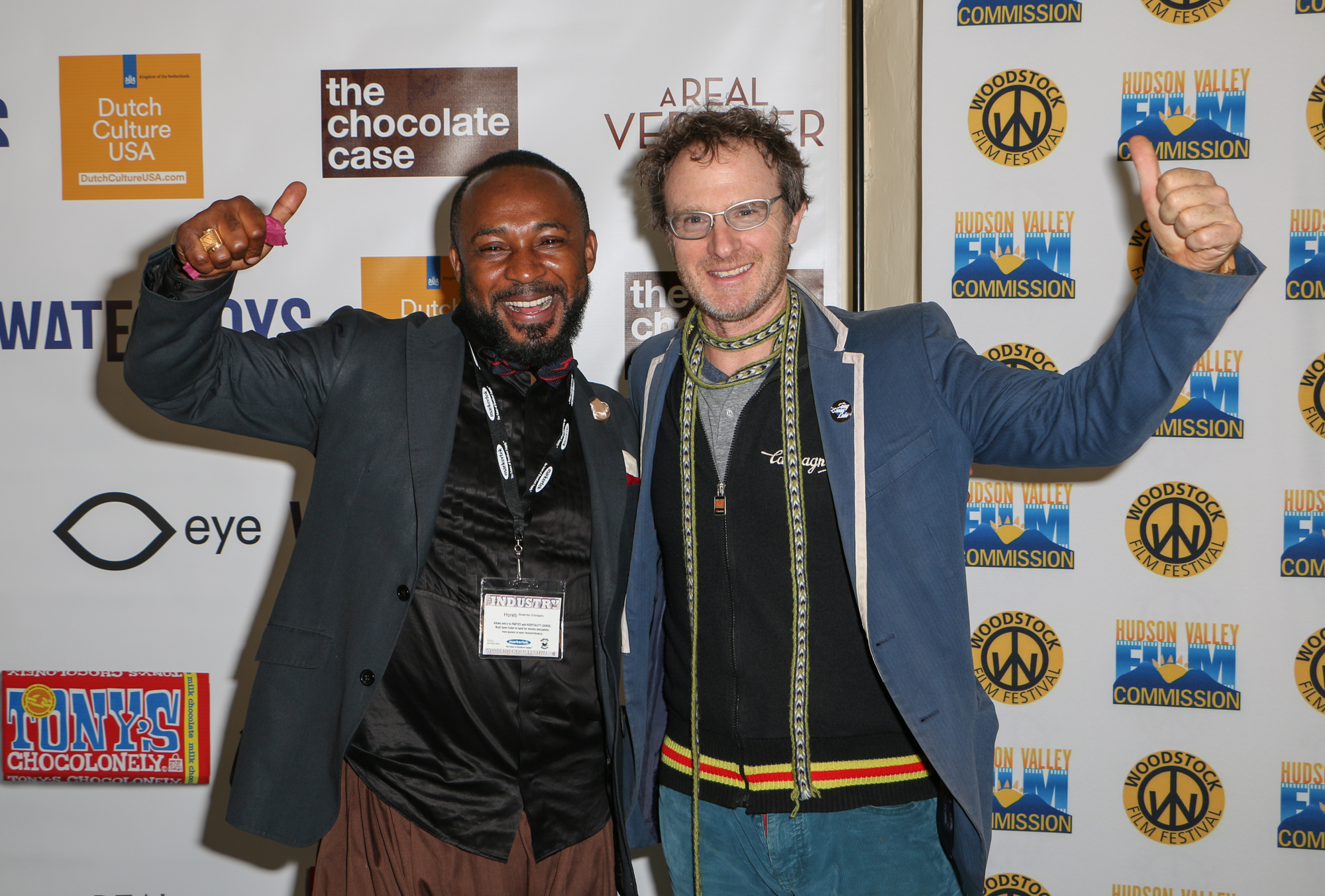 Horeb Bulambo Shindano (This Is Congo) and Ari Gold (Sway Lake) at the 2017 Woodstock Film Festival Filmmaker Party sponsored by Dutch Culture USA. Photo by: Eugene Devillamil