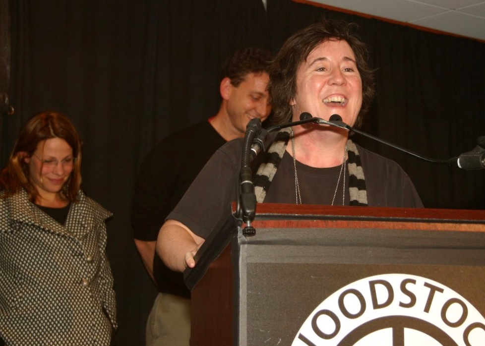Christine Vachon accepting her Maverick award at the 8th Annual Woodstock Film Festival