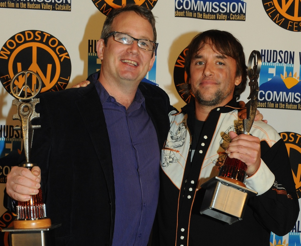 Ted Hope and director Richard Linklater with their Maverick Awards at the 2009 Woodstock Film Festival