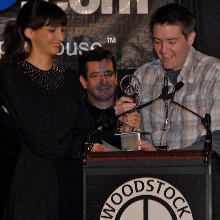 Chris Eska accepts the 2007 Maverick Award for best feature narrative AUGUST EVENING at 2007 Woodstock Film.