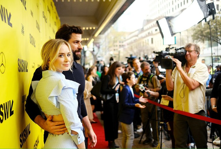 """Emily Blunt and John Krasinski at the premiere of """"A Quiet Place"""" at the South by Southwest Film Festival.CreditMatt Winkelmeyer/Getty Images for SXSW from the New York Times"""