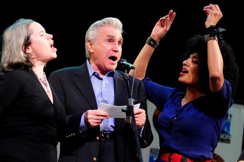 From left: Natalie Merchant, Maurice Hinchey, and Simi Stone performing at the 13th Woodstock Film Festival
