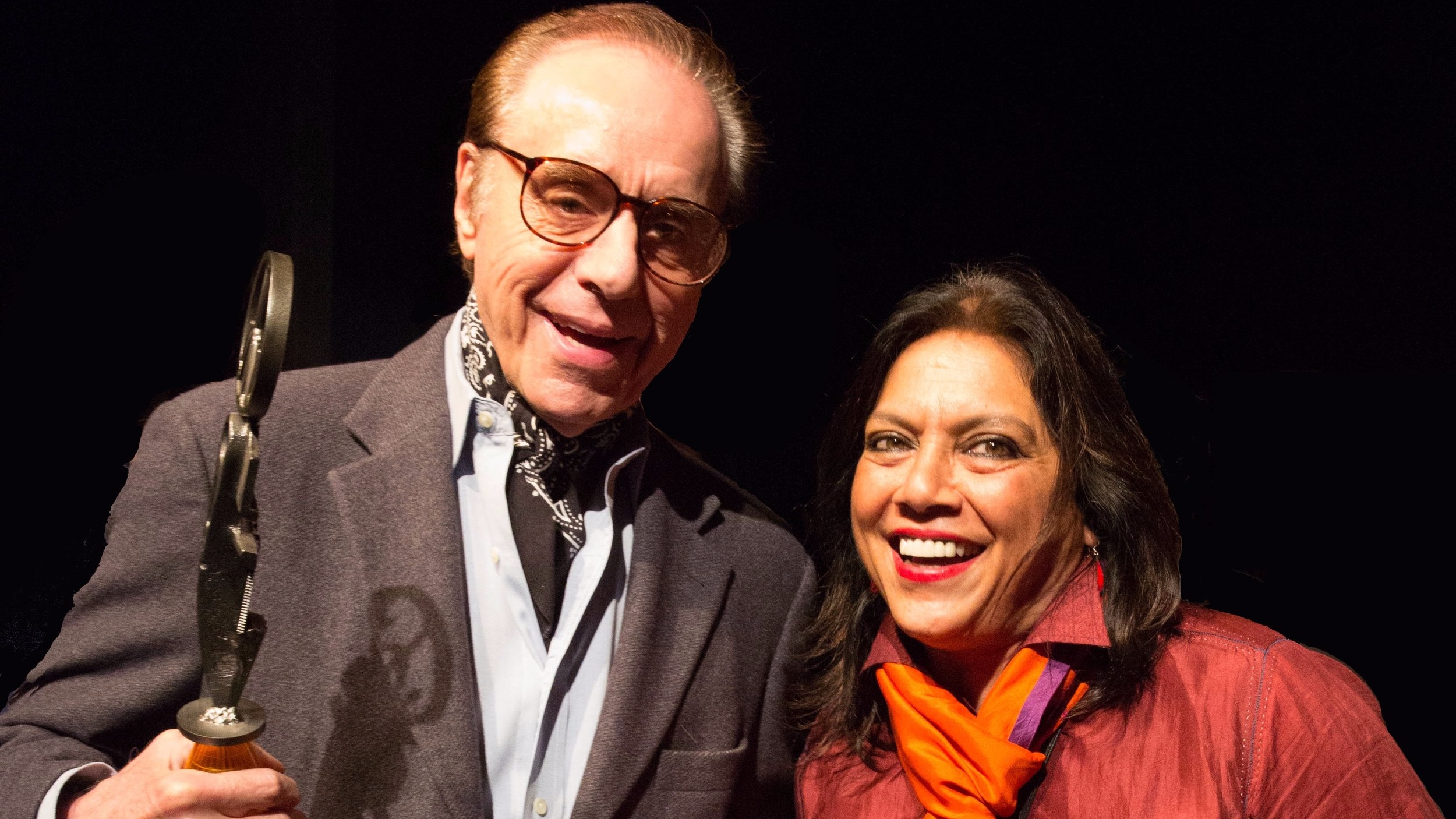 Honorary Maverick Award Recipient Peter Bogdanovich with Meera Gandhi Giving Back Award Recipient Mira Nair at the 2013 Woodstock Film Festival.