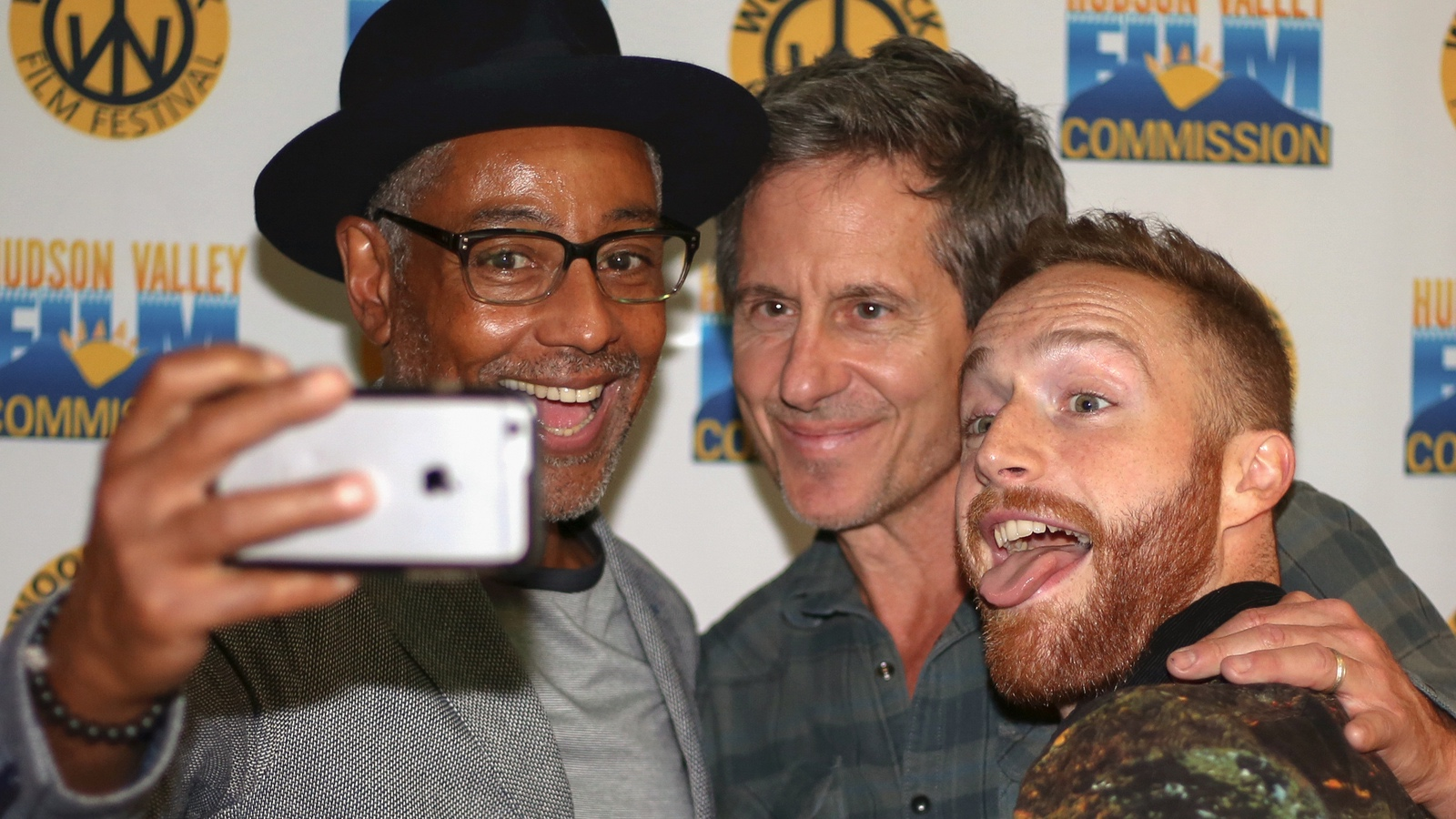 Giancarlo Esposito, Michael Berry and Tim Young after the screening of Stuck at the 2017 Woodstock Film Festival.