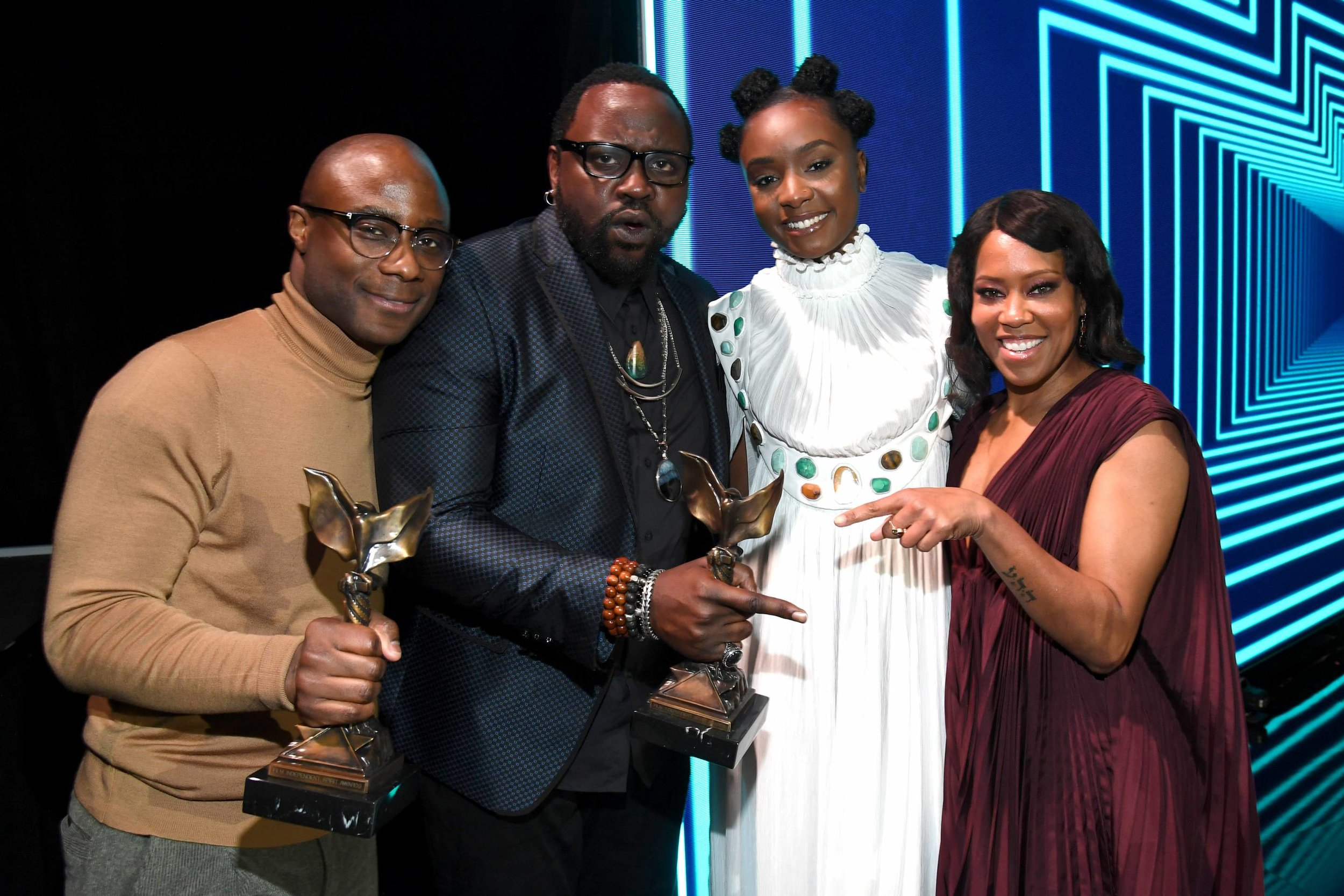 Barry Jenkins, Brian Tyree Henry, Kiki Layne, and Regina Hall, winners of Best Feature for 'If Beale Street Could Talk,' at the 2019 Film Independent Spirit Awards