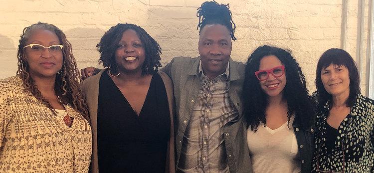 Lisa Cortés, Yoruba Richen, Roger Ross Williams, Lacey Schwartz Delgado, and Meira Blaustein at the Diverse Voices Panel.