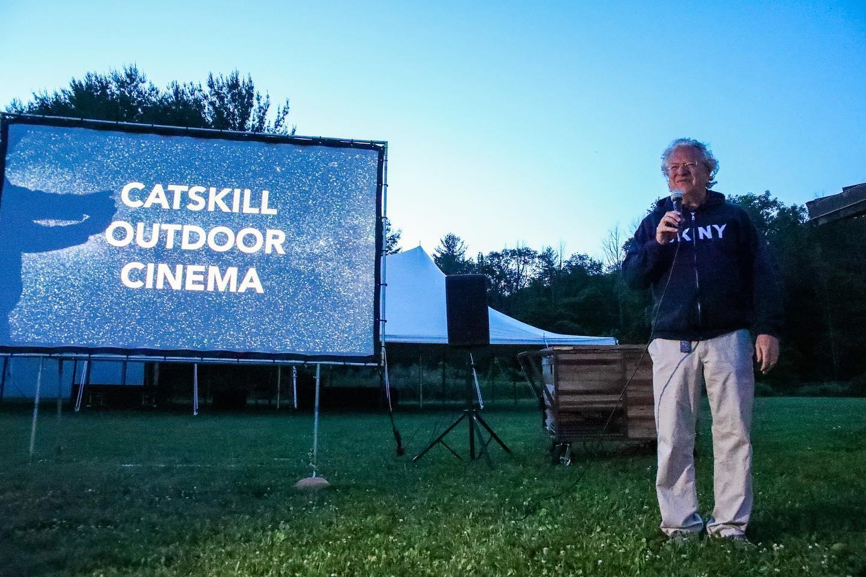 Jon Bowermaster at the outdoor screening at the Congressman Maurice D. Hinchey Catskill Vistor Center.
