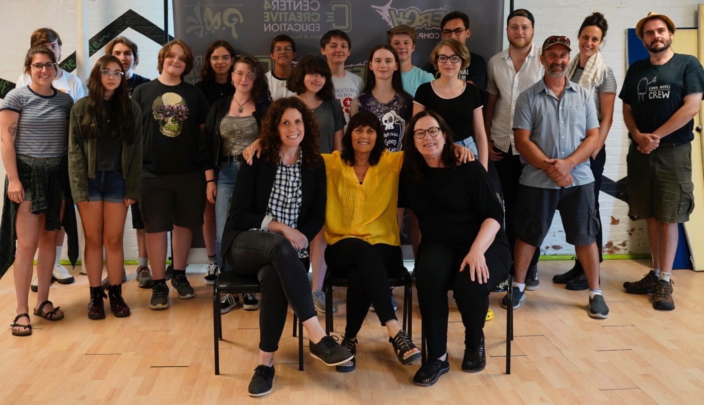 Cynthia Kane with the students and mentors of the Youth Film Lab.
