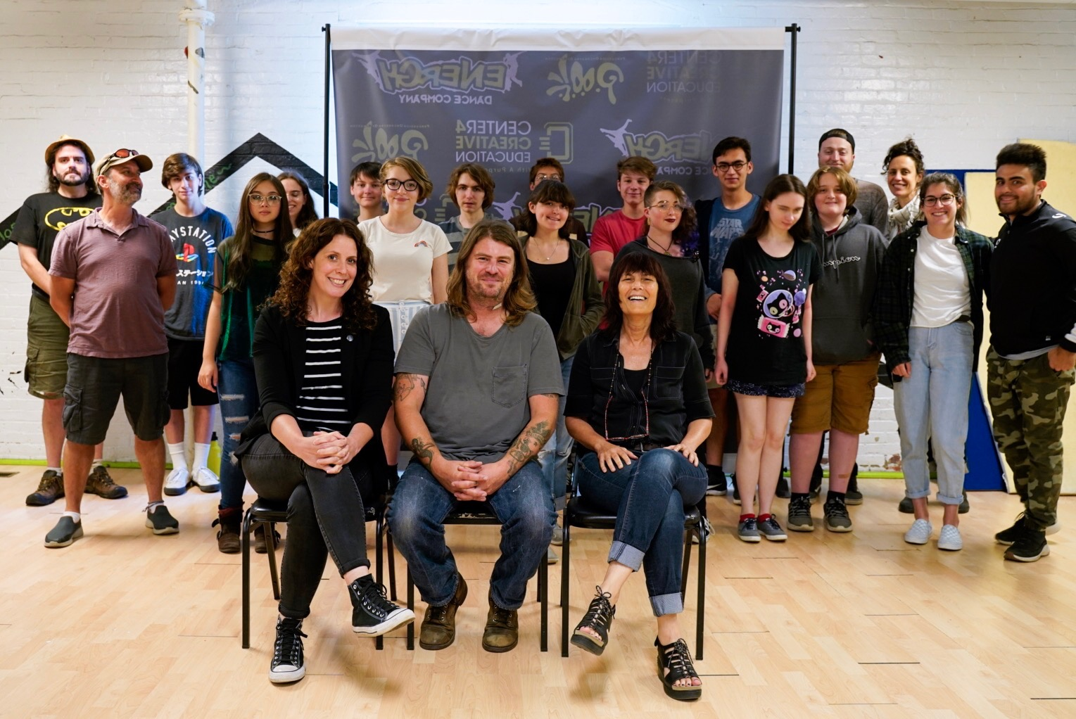 Michael Simmonds with the students and mentors of the Youth Film Lab.