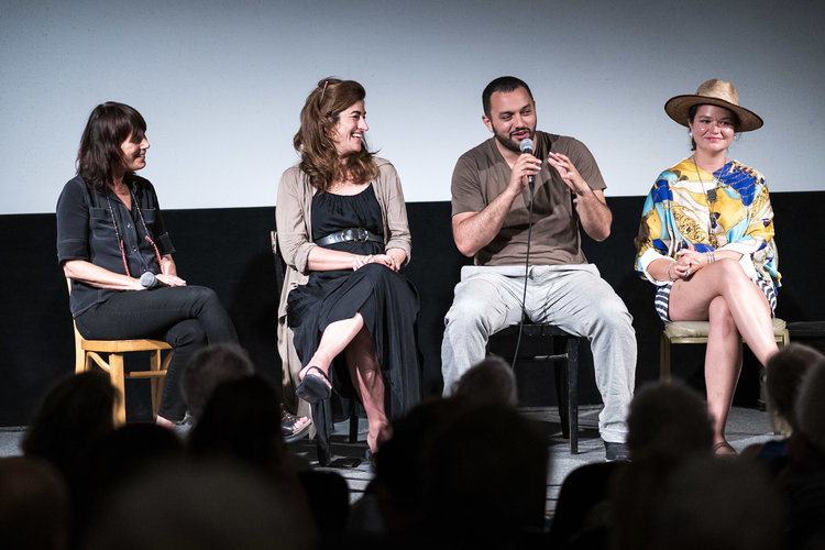 From left: Woodstock Film Festival co-founder and executive director Meira Blaustein, filmmakers Jehane Noujaim and Karim Amer, and film subject Brittany Kaiser.  Photo by: Jason Vasquez