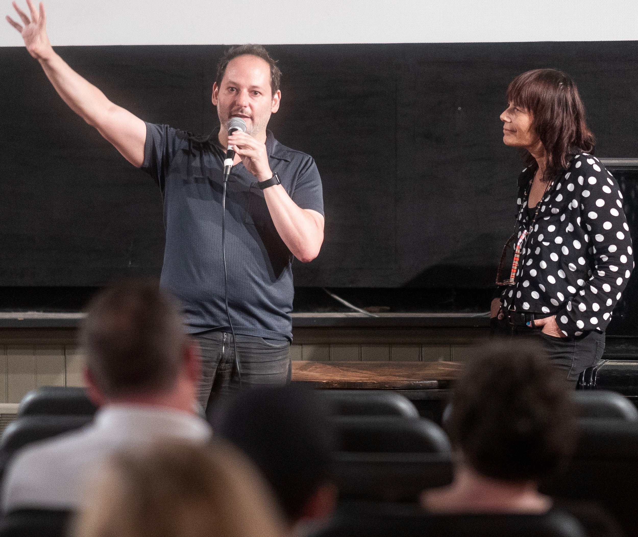 Director Tom Donahue answers audience questions with Woodstock Film Festival Co-founder and Executive Director Meira Blaustein.