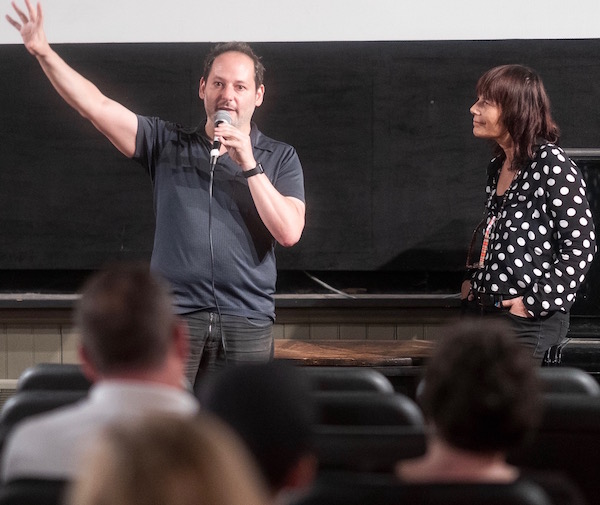 Director Tom Donahue answers audience questions with Woodstock Film Festival Co-founder and Executive Director Meira Blaustein